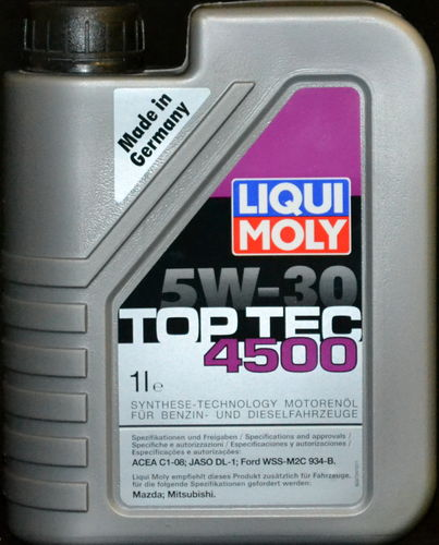 1 Liter Liqui Moly 5W30 TopTec 4500 Synthetisch Motoröl 5W-30